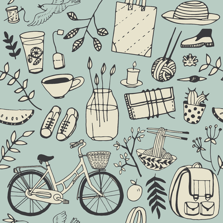 Summer good mood doodles set. Hand draw flowers, bicycle, backpack, food. Illustration, cute background.