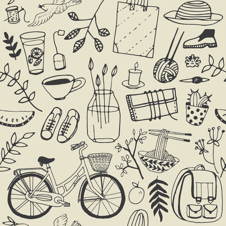holliday: Summer good mood doodles set. Hand draw flowers, bicycle, backpack, food. Illustration, cute background.