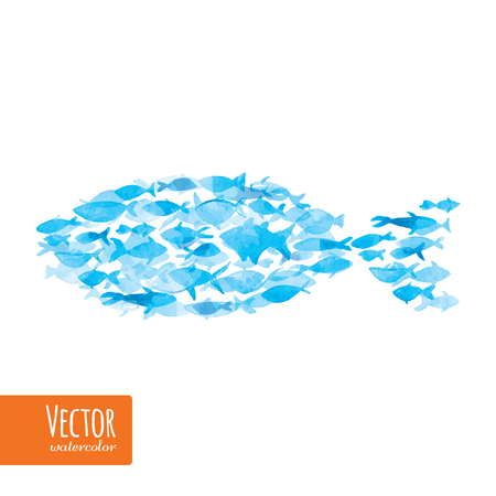 Vector watercolor fishes on light background.There is place for your text. Illustration