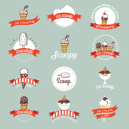 Vintage Retro Ice Cream Badges en etiketten.