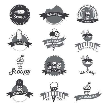Vintage Retro Ice Cream Odznaki I Etykiety.