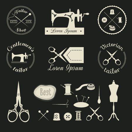 Conjunto de medida de la vendimia logotipo, emblema, etiquetas, escudos y elementos de diseño retro. Materiales de costura.