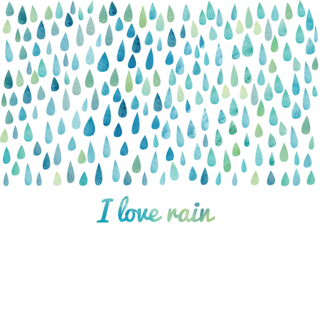 love in rain: Vector watercolor colorful abstract background. Paint splash watercolor drops. Vector set of brush strokes. Isolated on white background. I love rain lettering. Illustration