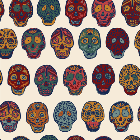 scull: Mexican Scull seamless pattern. Illustration