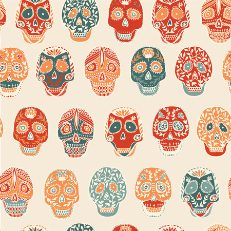 scull: Mexican scull pattern seamless.