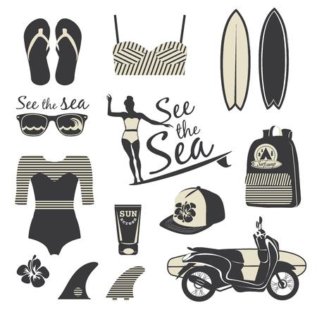 surf girl: Beach style. Surfer girl retro vector set. Vintage surf elements.
