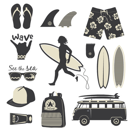 Surfer vector set. Beach life style. Vintage surf elementen. Stock Illustratie