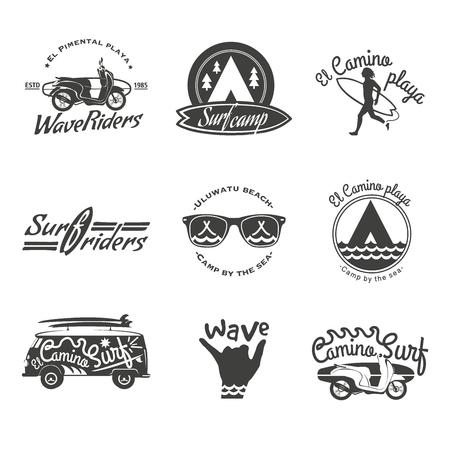 Surfer vector set. Beach life style. Vintage surf elements. Vector retro surfing labels, badges and design elements on the black background. 일러스트