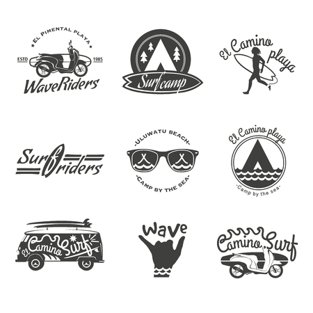 Surfer vector set. Beach life style. Vintage surf elements. Vector retro surfing labels, badges and design elements on the black background. Illustration