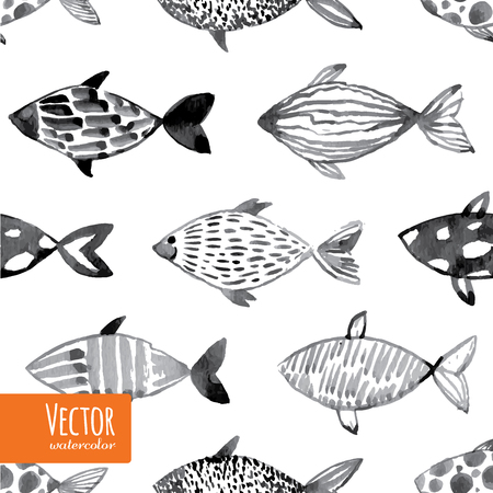 Light watercolor fishes. Seamlessly tiling fish pattern. Vector.