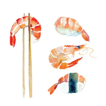 Watercolor shrimp, sushi, roll, seafood set. Vektorové ilustrace