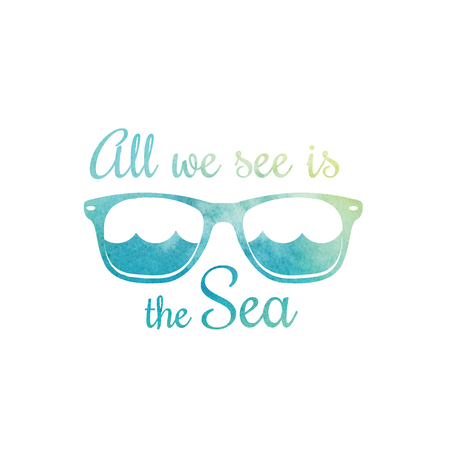 Aquarell Sonnenbrille. Aquarell Meereswellen. Surf T-Shirt Entwurf. Surfen T-Shirt mit Grafik, Druck. Vektor-Illustration.