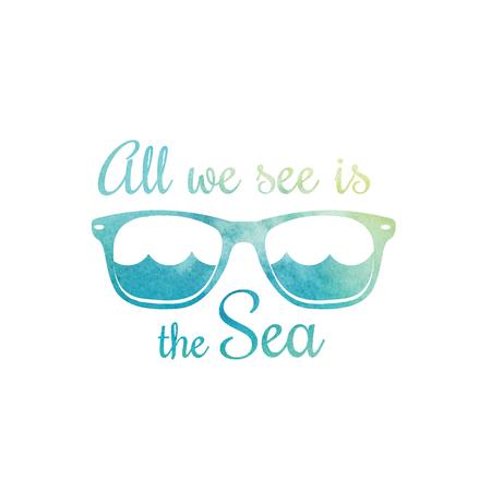 Watercolor sunglasses. Watercolor sea waves. Surf t shirt design. Surfing t-shirt graphics, print. Vector illustration. Illustration