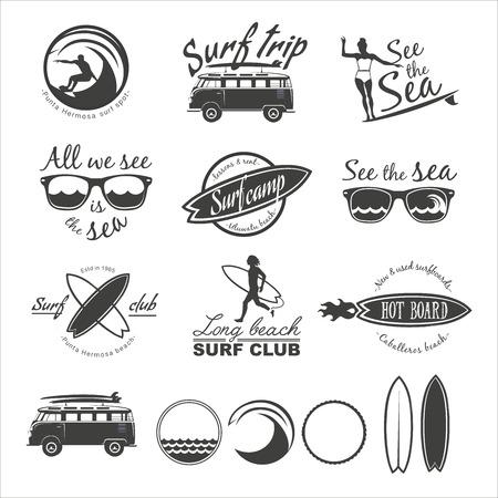 surfer vector: Surfer vector set. Vintage surf elements. Vector retro surfing labels, badges and design elements.