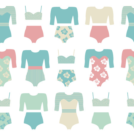 bikini top: Vector set of vintage surfing swimsuits. Surf swimwear isolated. Fashion illustration of swimsuits and bikini. Surfing clothing.