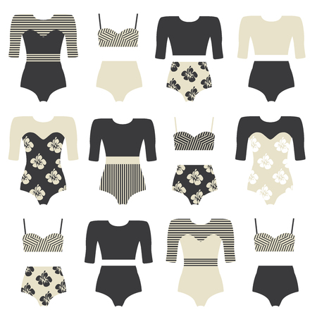 boardshorts: Vector set of vintage surfing swimsuits. Surf swimwear isolated. Fashion illustration of swimsuits and bikini. Surfing clothing.