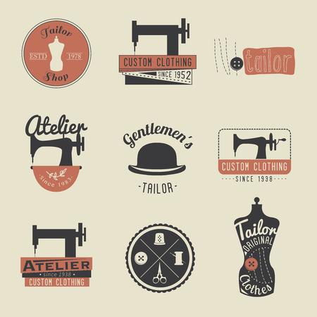 Conjunto de etiquetas personalizadas vintage, emblemas y elementos de diseño. sastrería retro. Ilustración de vector