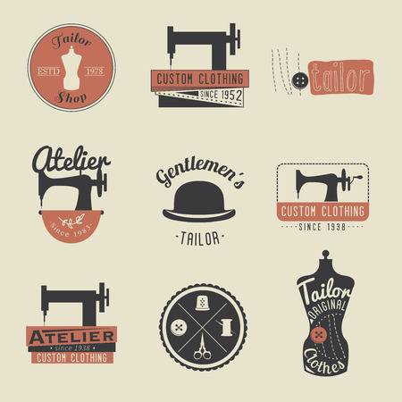 sew: Set of vintage tailor labels, emblems and design elements. Retro Tailor shop.