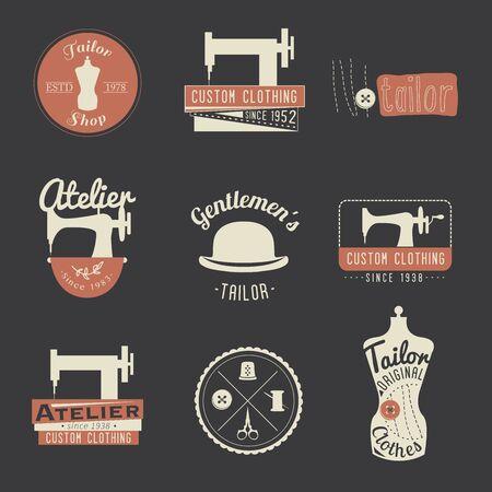 Set Vintage Schneider Etiketten, Embleme und Design-Elemente. Retro Tailor Shop.