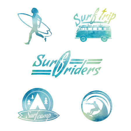 funny surfer: Vector Watercolor Retro Style Surfing Labels, Logos and T-shirt. Illustration