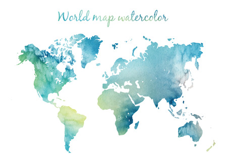 Watercolor world map in vector on wight background. Illustration in vector.