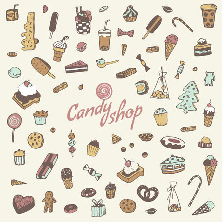 sweetmeats: Hand drawn sweets, candy, cakes, lollipop, sweetmeats, gingerbread, ice cream. Vintage elements for confectionery, sweet-shop, pastry-shop. in vector. Illustration