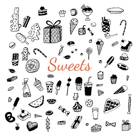 Set of various doodles, hand drawn rough simple sweets and candies sketches. Vector illustration isolated on white background Illustration