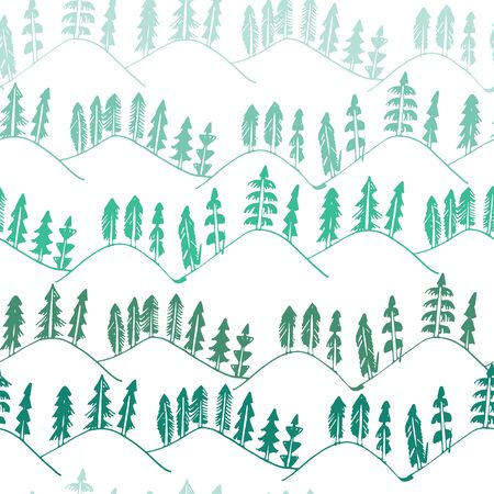 rural areas: Hand drawn forest landscape pattern seamless in vector. Illustration