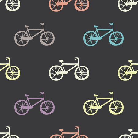 Illustration of Bicycle, Riding on the bicycle, vector illustration. Seamless pattern.