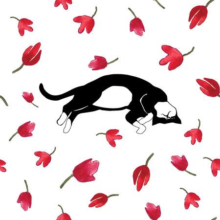 cat sleeping: Cat sleeping on tulips. Vector illustration.