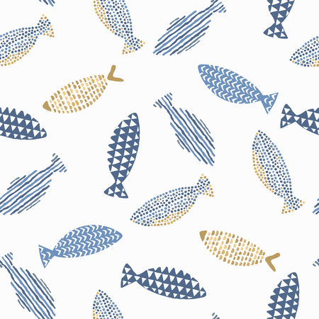 watercolour background: Decorative fishes pattern seamless in vector.