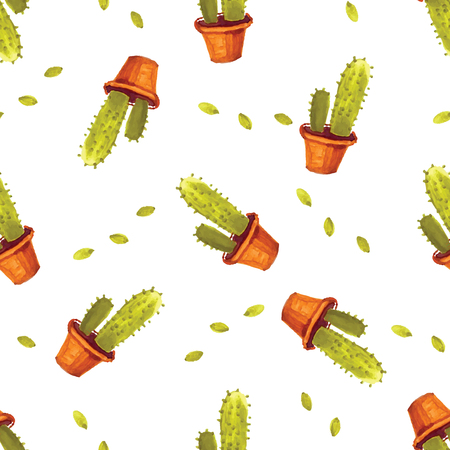 cactus cartoon: Watercolor cactus pattern seamless in vector. Hand painted vintage garden background. Vector floral illustration.