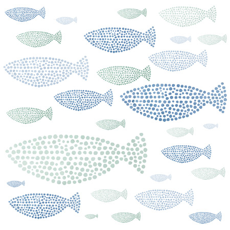 fish pattern: Watercolor hand drawn fishes in vector. Seamlessly tiling fish pattern. Illustration