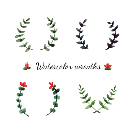 flower leaf: Watercolor cartoon flowers wreaths in vector.