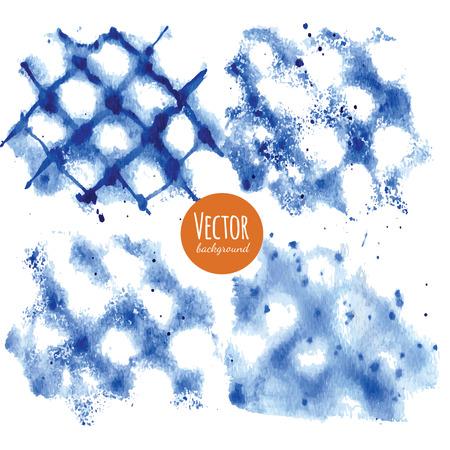 Shibori indigo dyed watercolor backgrounds in vector.