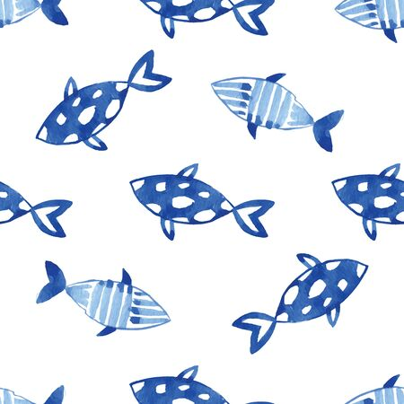 fishes pattern: Watercolor indigo blue ocean fishes pattern on the white background. Seamlessly tiling fish pattern. Vector.