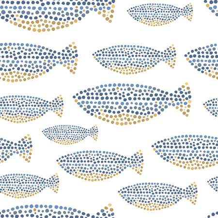 Decorative ocean fish pattern seamless in vector.
