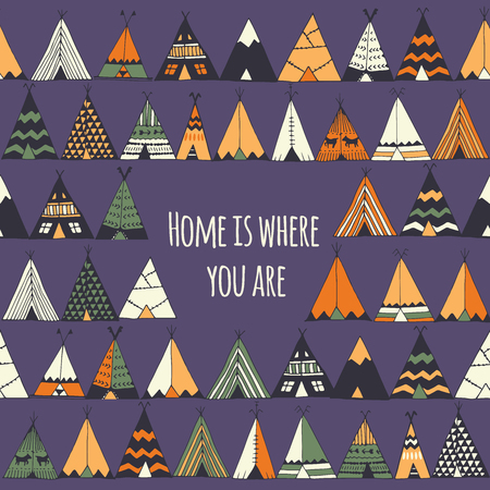 tepee: Home is where you are. Tepee illustration in vector. Illustration