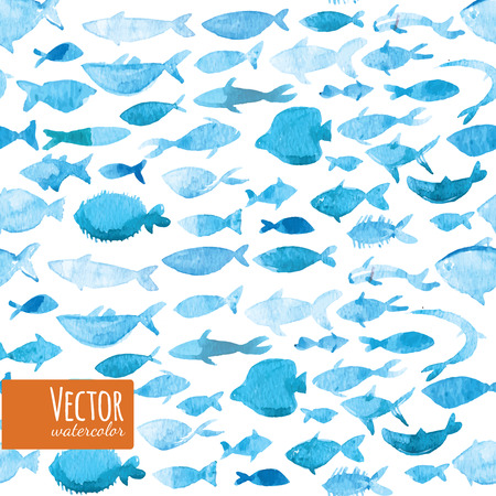 sea fishing: Concept design vector illustration art of group of beautiful watercolor blue fishes team work to organize themselves to swim in the shape of a big fish