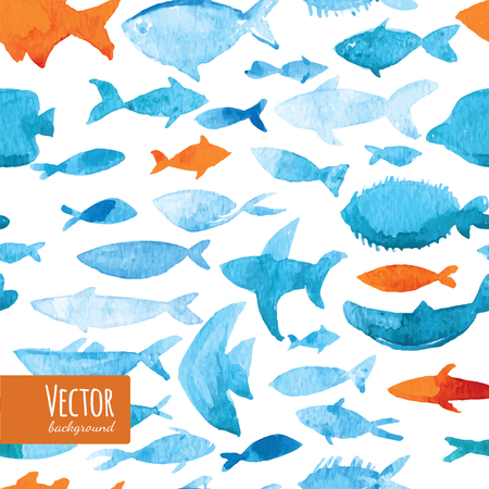 sea fishing: Light watercolor fishes. Seamlessly tiling fish pattern. Vector.