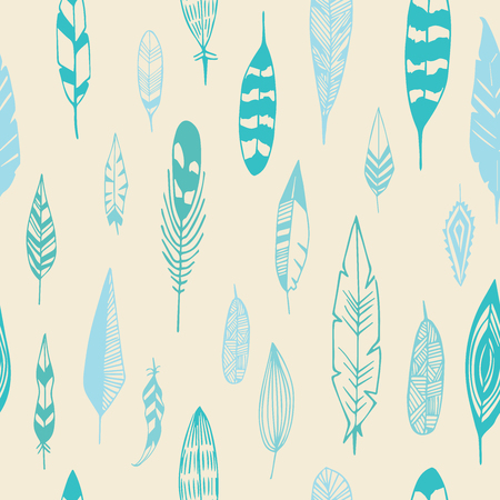 Feathers pattern seamless. Good night illustration in vector. 矢量图像