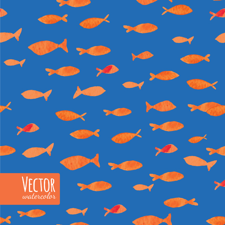 sea fishing: Watercolor gold ocean fishes on the blue background. Seamlessly tiling fish pattern. Vector. Illustration