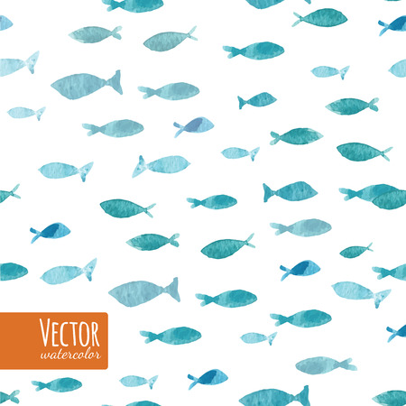 seamlessly: Watercolor sea blue ocean fishes on the white background. Seamlessly tiling fish pattern. Vector.