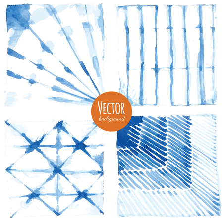 dyed: Shibori indigo dyed watercolor backgrounds in vector.