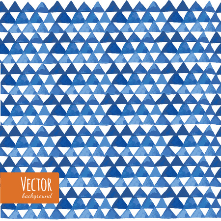 Blue watercolor triangles pattern in vector. Vector illustration in watercolor style. Illustration
