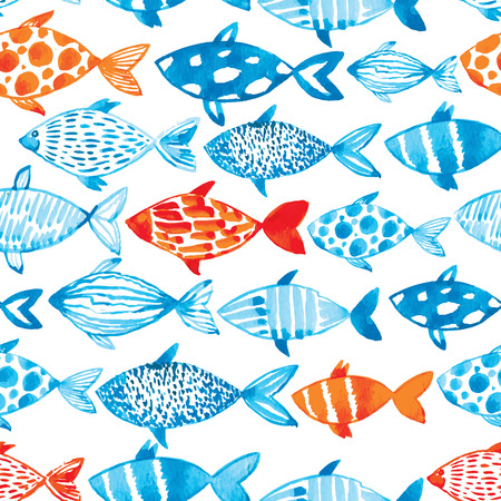 sea fishing: Vector watercolor fish on light background. Watercolor pattern seamless.