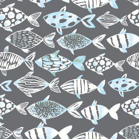 Light watercolor white fishes on the gray background. Seamlessly tiling fish pattern. Vector. Illustration