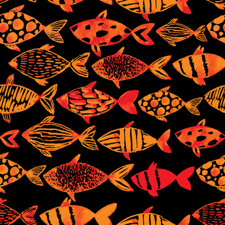 fishes pattern: Watercolor fishes pattern seamless in vector.