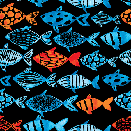 black fish: Light watercolor blue and gold fishes on the black background. Seamlessly tiling fish pattern. Vector.