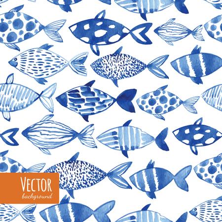 黒の背景に光水彩画青魚。シームレスに魚のパターンを並べて表示します。ベクトル。  イラスト・ベクター素材